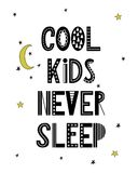 Cartoon nursery poster for kids. Scandinavian lettering quote.  stock illustration