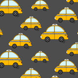 Cartoon NYC taxi pattern. Cute yellow cab cars wallpaper. Auto decoration print. Driver service urban print Royalty Free Stock Photography