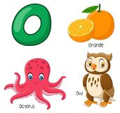 Cartoon O alphabet stock illustration