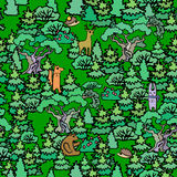 Cartoon Oak and fir trees seamless pattern background.Hand drawn royalty free illustration