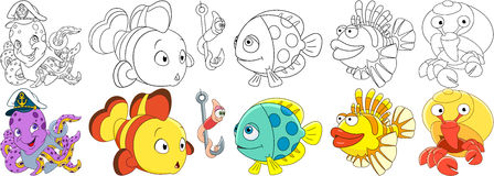 Cartoon ocean fishes set Stock Images