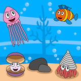 Cartoon Ocean Life [4]. Cartoon ocean life (fourth of four perfectly attachable illustrations): a jellyfish, a colorful fish, a mollusc or shellfish and a oyster Royalty Free Stock Images