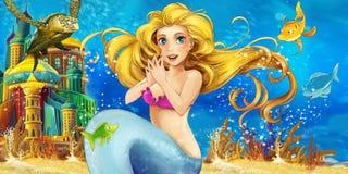 Cartoon ocean and the mermaid stock illustration