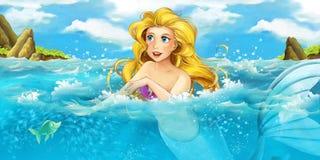 Cartoon ocean and the mermaid vector illustration