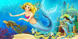 Cartoon ocean and the mermaid Royalty Free Stock Photos