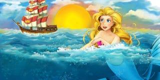 Cartoon ocean and the mermaid Stock Image