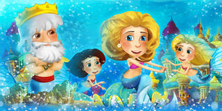 Cartoon ocean and the mermaid with his father the king vector illustration