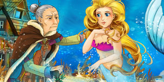 Cartoon ocean and the mermaid talking to an old woman Royalty Free Stock Images