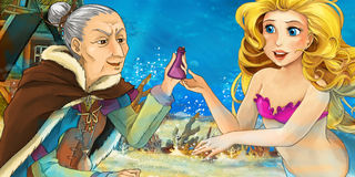 Cartoon ocean and the mermaid talking to an old woman Stock Photo