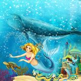 Cartoon ocean and the mermaid in underwater kingdom swimming with whales vector illustration