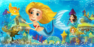 Cartoon ocean and the mermaids Royalty Free Stock Photo