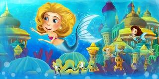 Cartoon ocean and the mermaids Stock Photo