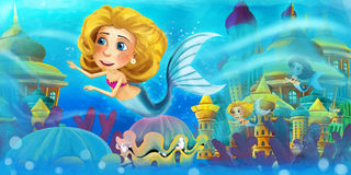Cartoon ocean and the mermaids Stock Photography