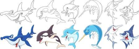 Cartoon ocean predators set. Cartoon animals set. Collection of underwater predators. Hammerhead, killer whale, dolphin, narwhal unicorn-fish, sawfish, shark Stock Photo