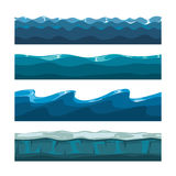 Cartoon ocean, sea, water waves vector seamless patterns Royalty Free Stock Photography