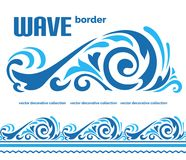 Blue ocean wave, sea water border ornament stock illustration