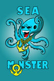 Cartoon octopus with an anchor hanging from the neck. Cartoon sea monster octopus, with a terrible expression Royalty Free Stock Image