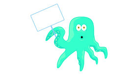 Cartoon Octopus character with empty sign Royalty Free Stock Images