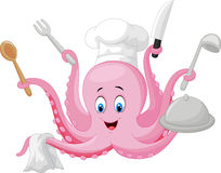 Cartoon octopus chef holding cooking tools Royalty Free Stock Photos