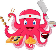Cartoon Octopus chef Stock Photos