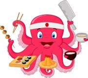 Cartoon Octopus chef vector illustration
