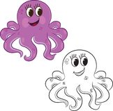 Cartoon octopus. Coloring book Royalty Free Stock Photo