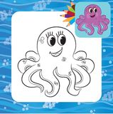 Cartoon octopus. Coloring page Royalty Free Stock Photos