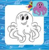 Cartoon octopus. Coloring page Royalty Free Stock Photos