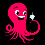 Cartoon octopus with a diamond ring Stock Photography