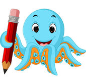 Cartoon octopus holding pencil Royalty Free Stock Image