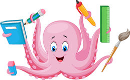 Cartoon octopus holding stationery Stock Photo