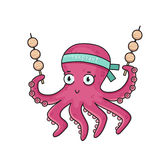Cartoon octopus with Japanese food Takoyaki. Royalty Free Stock Image