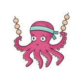 Cartoon octopus with Japanese food Takoyaki. Royalty Free Stock Image