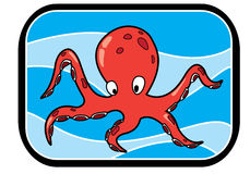 Cartoon Octopus In Ocean Royalty Free Stock Photography