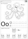 Cartoon octopus and owl. Alphabet tracing worksheet: writing A-Z Royalty Free Stock Images