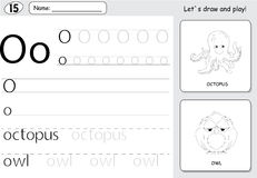 Cartoon octopus and owl. Alphabet tracing worksheet: writing A-Z and educational game for kids. Cartoon octopus and owl. Alphabet tracing worksheet: writing A-Z royalty free illustration