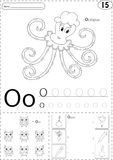 Cartoon octopus, owl and onion. Alphabet tracing worksheet: writ Royalty Free Stock Images