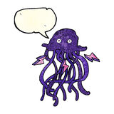 Cartoon octopus with speech bubble Royalty Free Stock Photo
