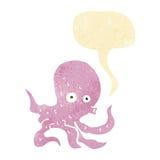 Cartoon octopus with speech bubble Royalty Free Stock Photos