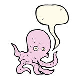 Cartoon octopus with speech bubble Royalty Free Stock Image