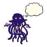 Cartoon octopus with thought bubble Royalty Free Stock Photography