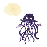 Cartoon octopus with thought bubble Royalty Free Stock Image
