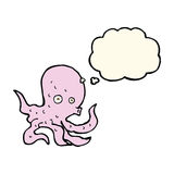 Cartoon octopus with thought bubble Stock Image