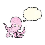 Cartoon octopus with thought bubble Royalty Free Stock Photo