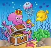 Cartoon octopus on treasure chest. Illustration Royalty Free Stock Photography