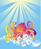 Cartoon octopus, vector illustration Stock Images