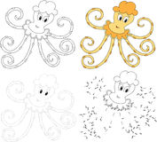 Cartoon octopus. Vector illustration. Dot to dot game for kids Stock Photos