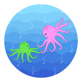 Cartoon Octopuses In The Sea Stock Photos