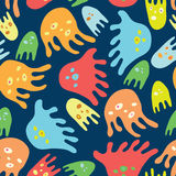 Cartoon octopuses. Seamless vector pattern Royalty Free Stock Image