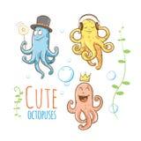 Cartoon octopuses set. Cute cartoon octopuses set. Vector image. Underwater life Stock Photo
